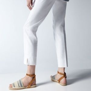 Tory Burch Canvas Espadrille Wrap Sandals Ivory